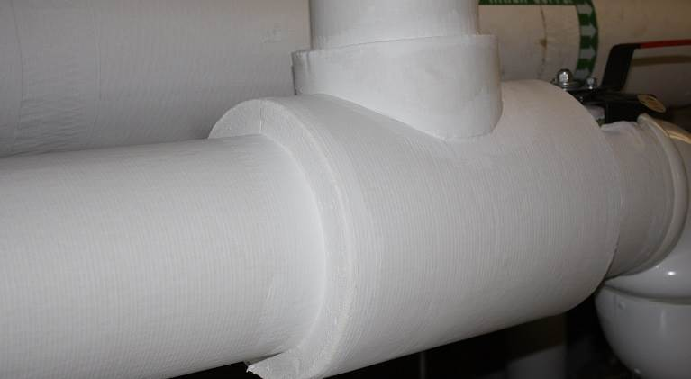Insulation on a large pipe.