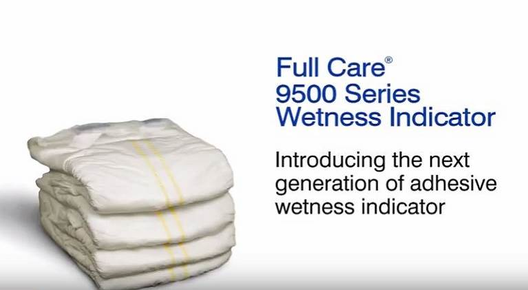 Baby diapers with Full Care 9500 series wetness indicator